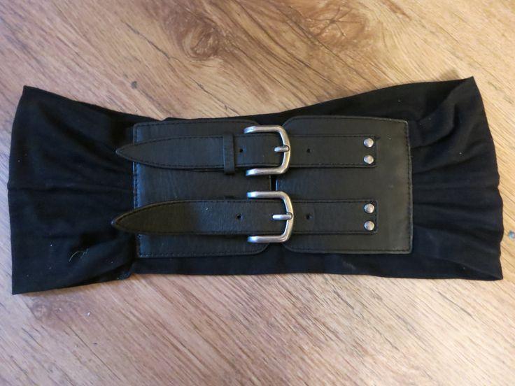 Musta Pieces leveä trikoo-nahka leveä vyö