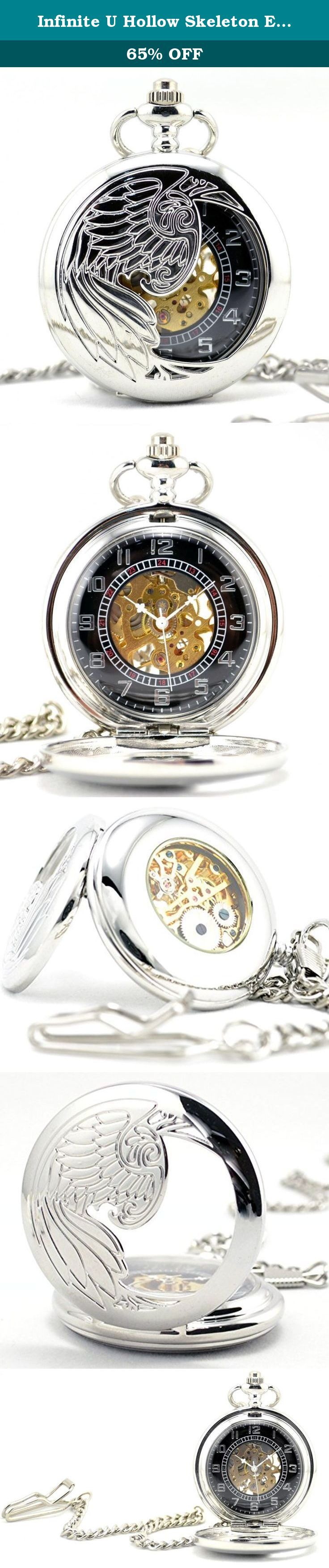 Infinite U Hollow Skeleton Eagle/Angel/Phoenix Pendant Necklace Steel Mechanical Pocket Watch -Silver. Description: 1. 100% Brand New and High Quality! 2. Renaissance Antique Pocket Watch 3. Stainless Steel Alloy Watch Case 4. Hollow Skeleton Dial with Roman Numerals Display. 5. Daily Water Resistant (Note: only resistant splash or drip, not suitable for shower, swimming and diving.) Package Includes: 1* New Mechanical Pocket Watch, 1* Long Sweater Chain: 80cm (31.5 inches)(Gift) 1* Cow…