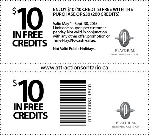 Playdium Credit Coupons