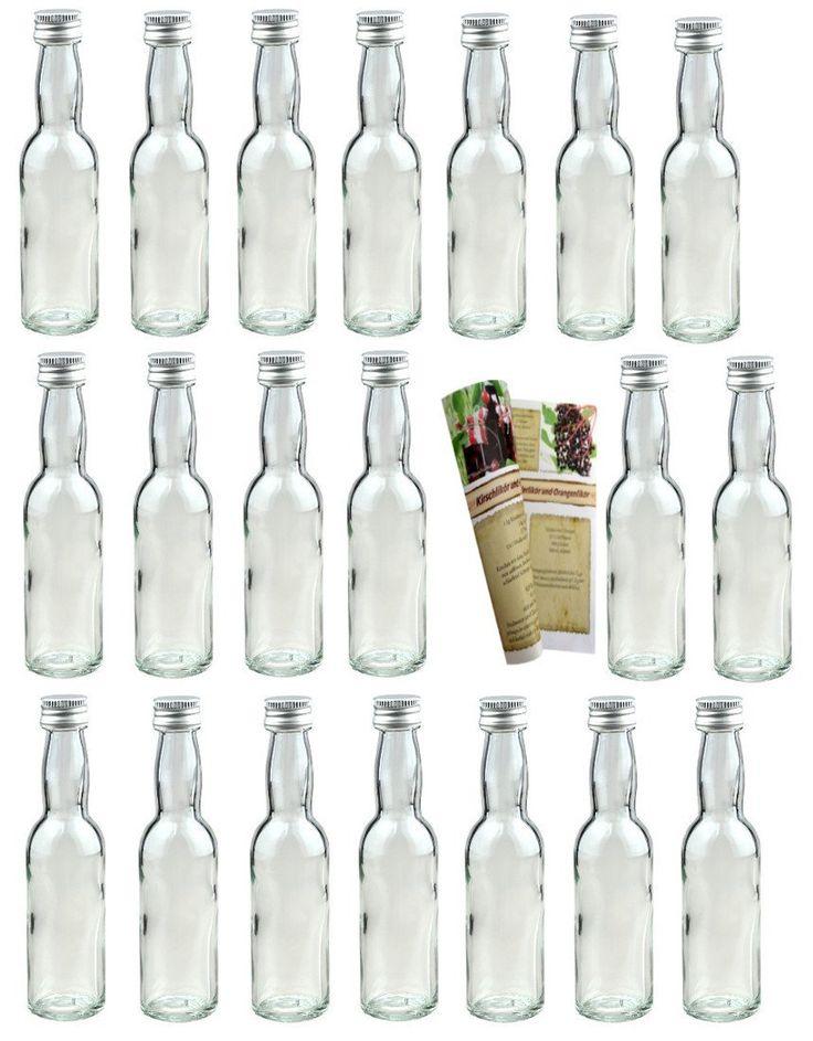 """Amazon.de: 40 leere Mini Glasflaschen """"Lang"""" 40 ml Glasflaschen kleine Flaschen incl. Schraubverschluss und 28-seitige Rezeptbroschuere, Schnapsflaschen Essigflaschen"""
