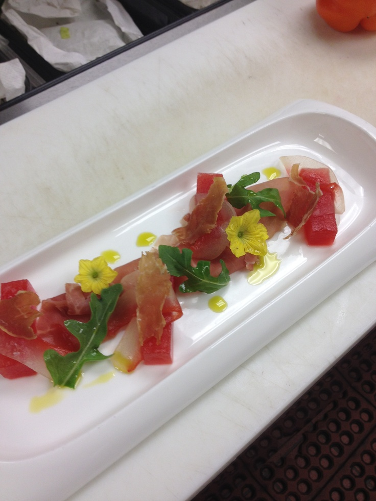 Crimson watermelon salad, Jolly Rancher rind, Benton's Country Ham #TheBluffEats