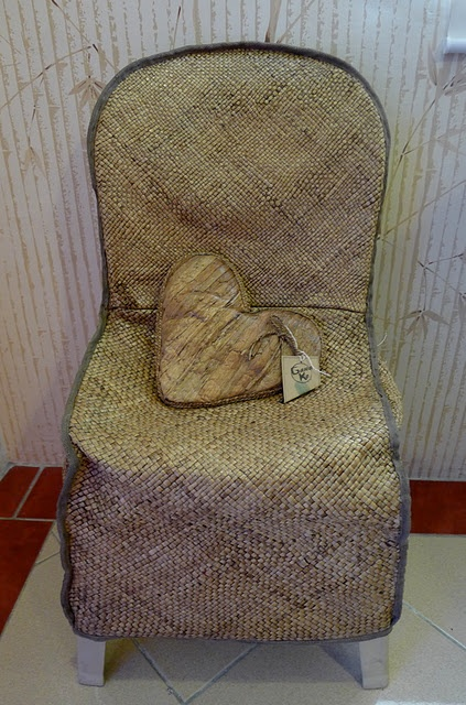 Woven monobloc (plastic) chair cover - perfect for lightweight stackable spare chairs. I think this is water lily fiber. [@ GKnomics]