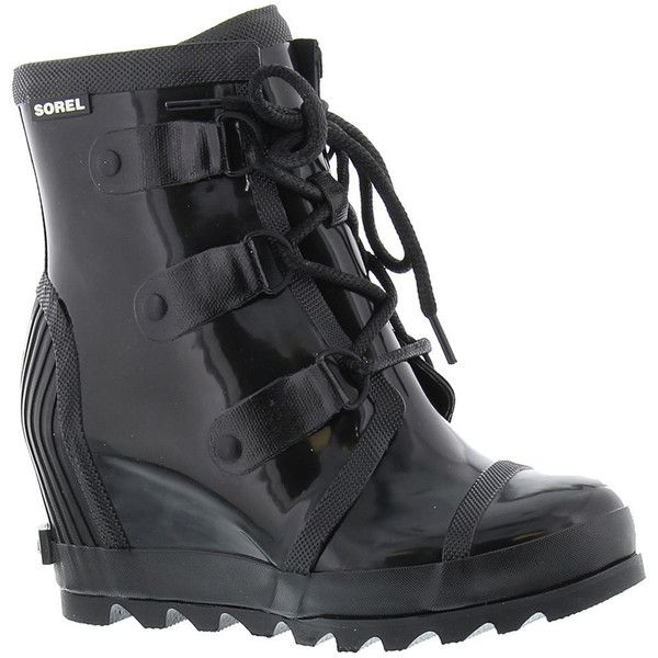 Sorel Joan Rain Wedge Gloss Women's Black Boot 10 M ($165) ❤ liked on Polyvore featuring shoes and boots