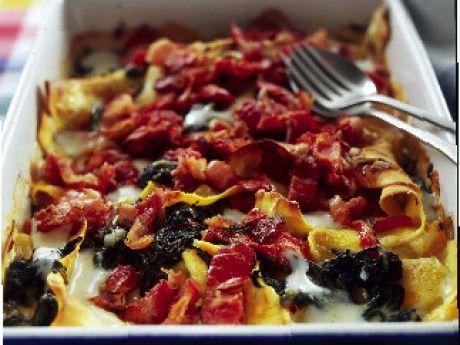 Pastagratäng med bacon