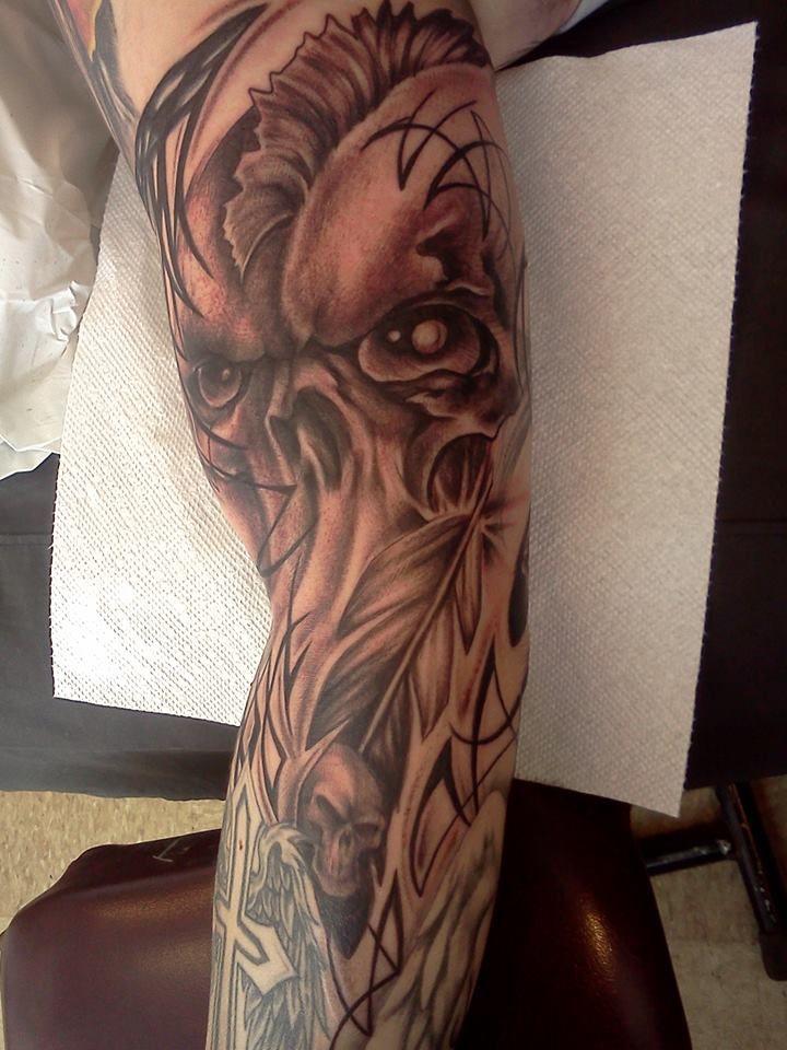 Freehand Warrior Skull Tattoo By Miss Autumne Garland