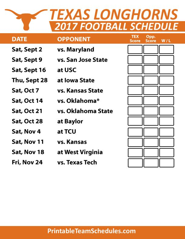 2017 Texas Longhorns Football Schedule