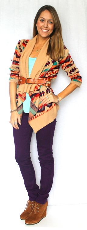 Aztec Sweater: Adding zest to a cozy look and feel amazing on chilly fall days   20 Fall Outfits for Inspiration   Babble