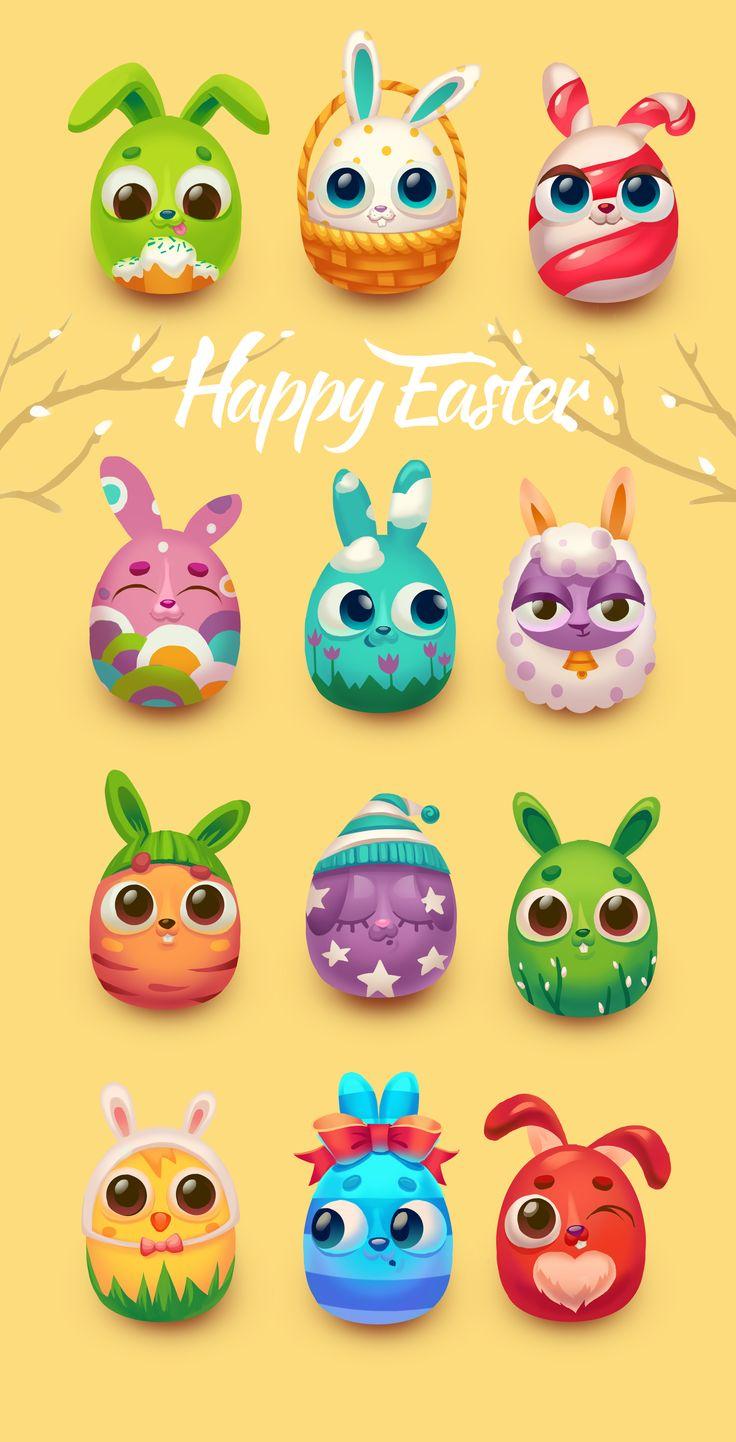 Easter rabbits on Behance