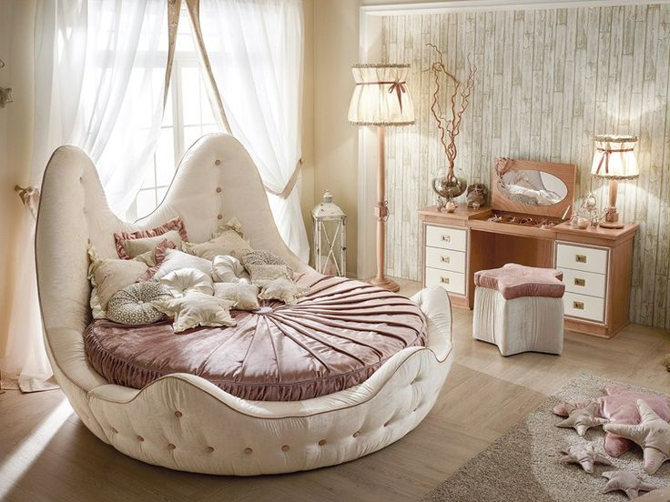 round bed with tufted headboard Stella marina | upholstered bed to manufacturer Caroti