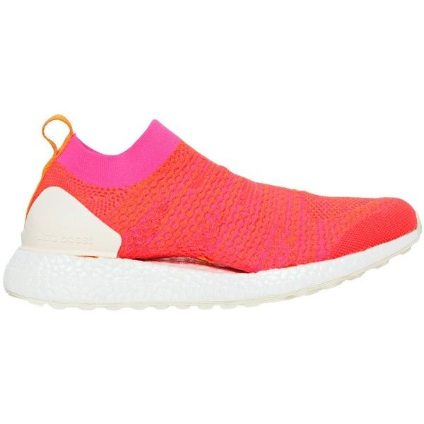 Adidas By Stella Mccartney Women Pure Boost X Primeknit Sneakers (£180) ❤ liked on Polyvore featuring shoes, sneakers, orange, rubber sole shoes, adidas trainers, adidas footwear, adidas sneakers and orange sneakers