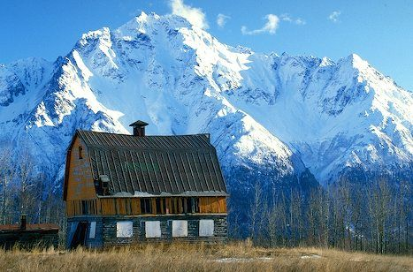 The snow covered mountain, Pioneer Peak located in the Matanuska-Susitna Valley in Palmer, Alaska towers over a rustic barn and other farm buildings.