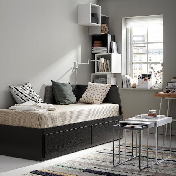 Flekke Daybed With 2 Drawers 2 Mattresses Black Brown Husvika Firm Twin Dengan Gambar Desain Tempat Tidur Tidur
