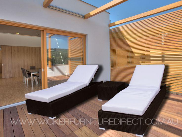 Brown Suntra Wicker Outdoor Sun Beds 3 Piece