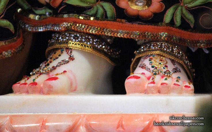 To view Jagannath Baladeva Subhadra Wallpaper of ISKCON Chennai in difference sizes visit - http://harekrishnawallpapers.com/srimati-radharani-feet-iskcon-chennai-wallpaper-001/