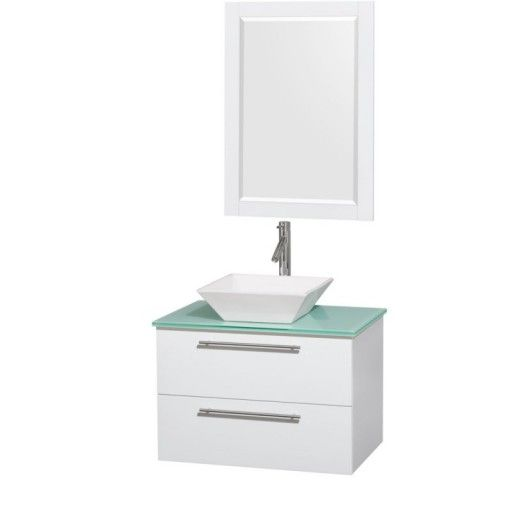 """Wyndham Collection Amare 30"""" Wall-Mounted Bathroom Vanity Set with Vessel Sink - Glossy White WC-R4100-30-WHT"""