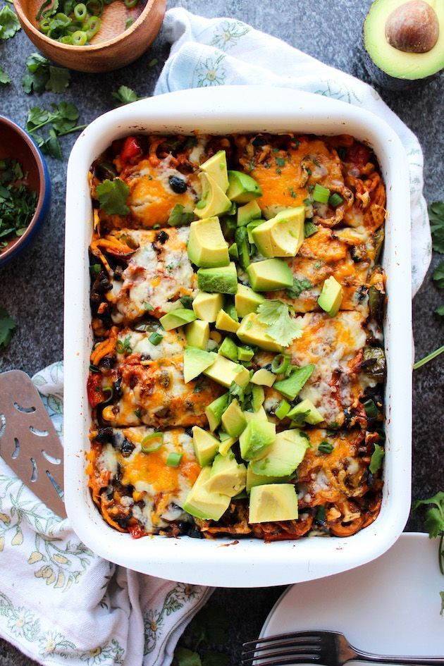 Spiralized Sweet Potato Enchilada Casserole loaded with veggies, black beans and doused in a simple homemade enchilada sauce | Gluten Free Vegetarian