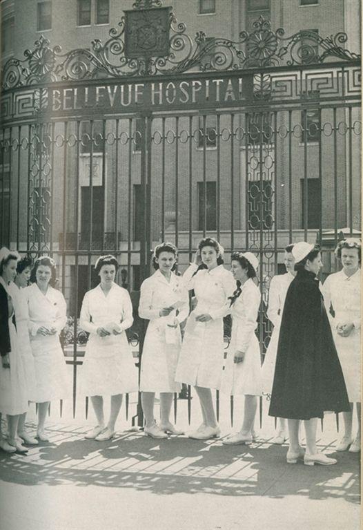 Nursing students outside of Bellevue Hospital in 1943.