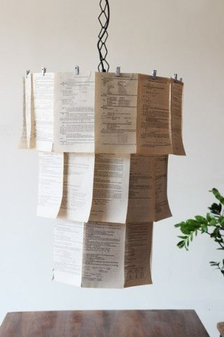 A book page chandelier = ideal ambiance   30 Totally Unique Ways To Decorate Your Home With Books