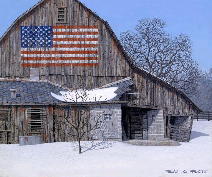 love the flag on the old barn