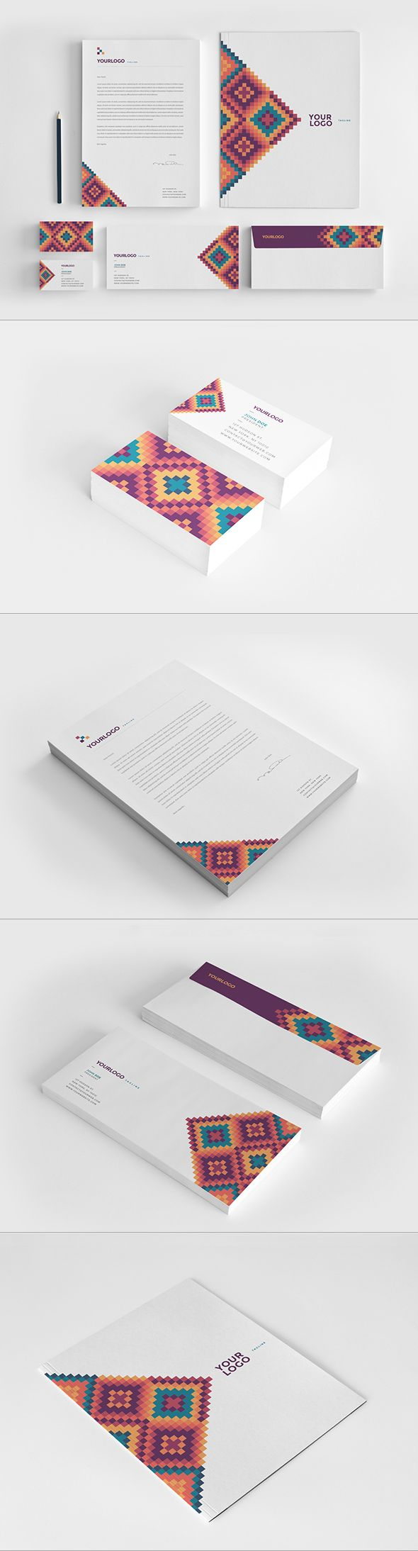 Modern Colorful Pattern Stationery. Download here: http://graphicriver.net/item/modern-colorful-pattern-stationery/12335438?ref=abradesign