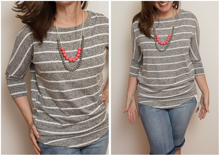 Stitch Fix #1-[Kept this] Market and Spruce- Corinna Striped Dolman Top in Grey. June 2015 #stitchfix #mamaandlittle