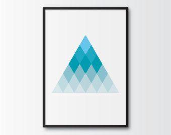 Geometric Printable Art, Geometric Trianlge Print, Geometric Mountain Poster, Shades of Blue Wall Art, Contemporary Geometric Printable Art