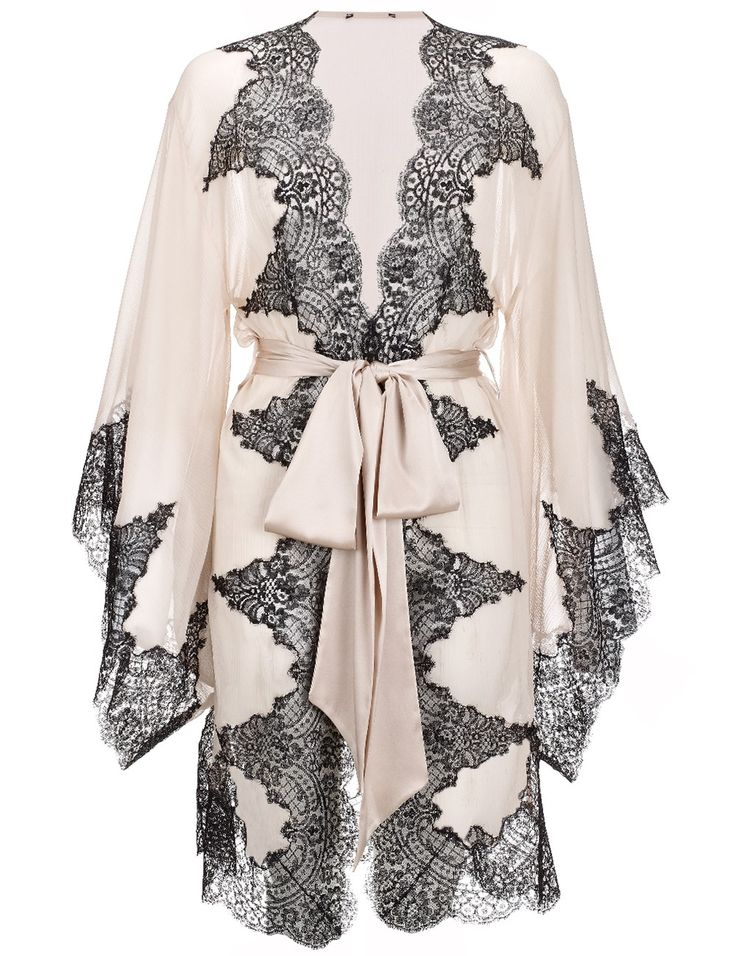 Champagne Elsa Kimono Silk Robe. I prefer chemise night gowns to any other PJs and I love having silk robes to wear over them around the house, this one is beautiful :)