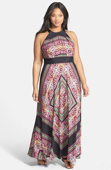 Plus Size Maxi Dress - Plus Size Scarf Print Halter Maxi Dress (Plus Size)
