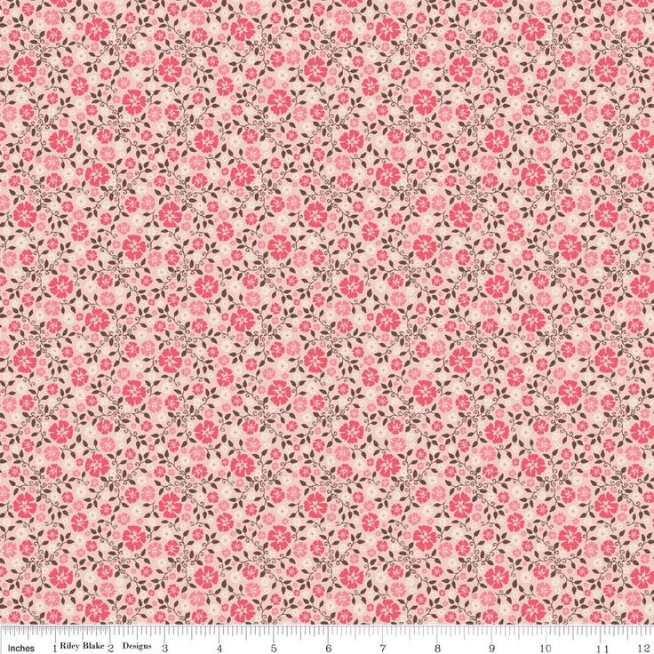 Pink Calico Floral Quilt Fabric. Western. Riley Blake Roundup by Samantha Walker. C4534 Pink. 43/44 wide. 100% cotton yardage.  Pretty pink flowers, chocolate brown vines, light pink background. From Riley Blakes Rodeo Rider collection.  For more fabrics from this collection and the similar Roundup collection, click here: http://etsy.me/1bt07NW For more Riley Blake fabrics click here: http://etsy.me/1xRCDe6 For more floral fabrics click here: http:/&#x2...