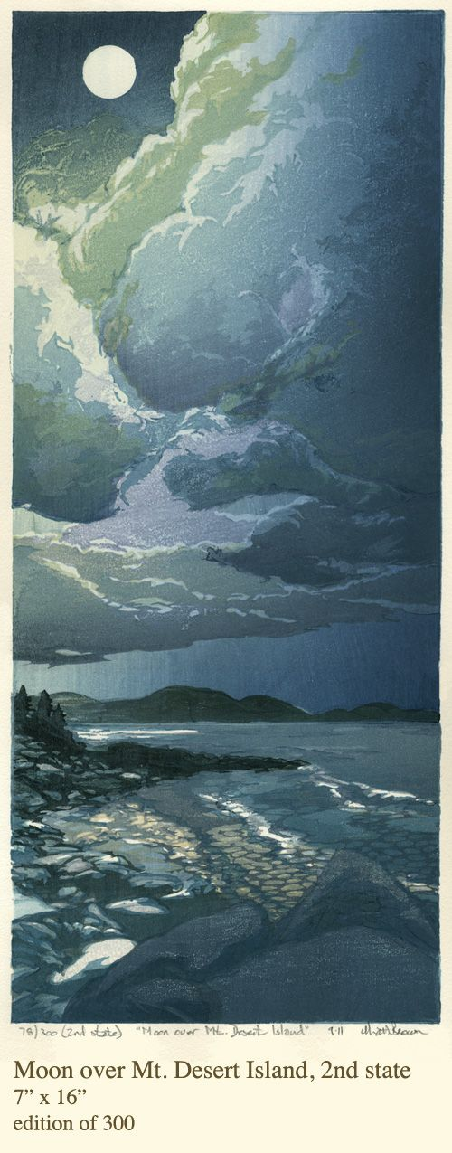 Matt Brown woodblock prints Moon over Mt. Desert