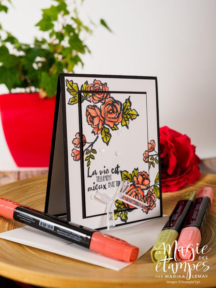 Jolie carte démontrant la technique de double stamping avec le jeu Stampin' Up! Palette de pétales du catalogue En toutes Occasions 2018 #stampinup #palettedepetales #carte #etampes #techniqueetampes
