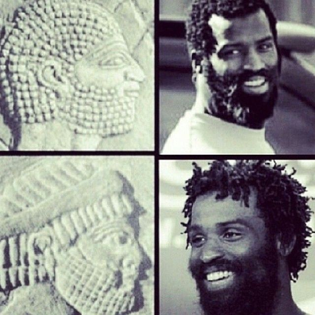 A wall relief of an ancient Israelite. Ricky Williams, a so-called African American, on the right. Hmm.