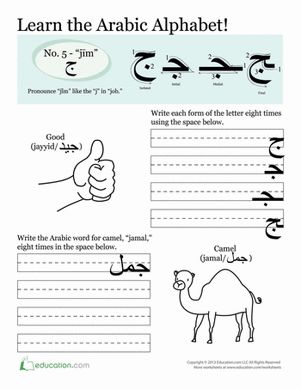 Third Grade Arabic Foreign Language Worksheets: Arabic Alphabet for Kids: Jim