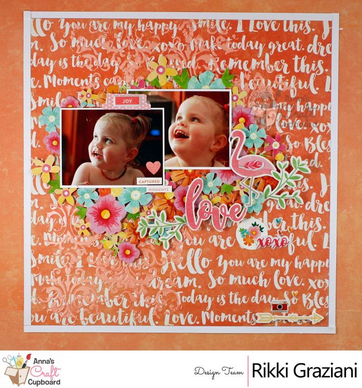 """Rikki Graziani is joining us this week with her creations using Jillibean Soup""""Bowl of Dreams"""" collection. Here we showcase her second layout titled 'Love'  You can see all the details on Anna's blog...  The complete  Jillibean Soup """"Bowl of Dreams"""" collection can be found in the Anna's store https://www.annascraftcupboard.com.au/store/jillibean-soup-c-4337/"""