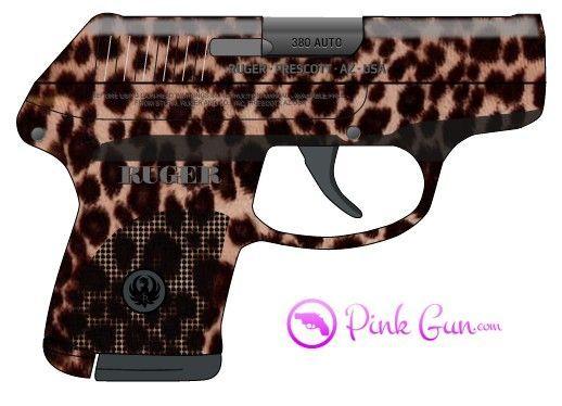 Pink Gun - Ruger LCP .380 semi-automatic pistol cheetah decoration concept at http://www.PinkGun.com