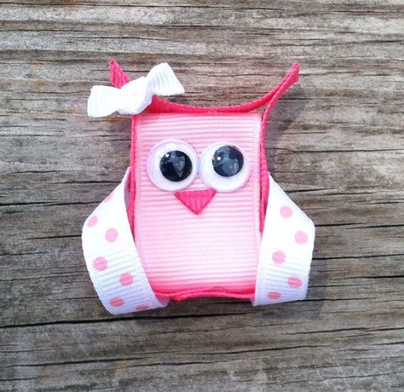 Pink Owl Ribbon Sculpture Hair Clip - Toddler Hair Bows - Girls Hair Accessories... Free Shipping Promo via Etsy