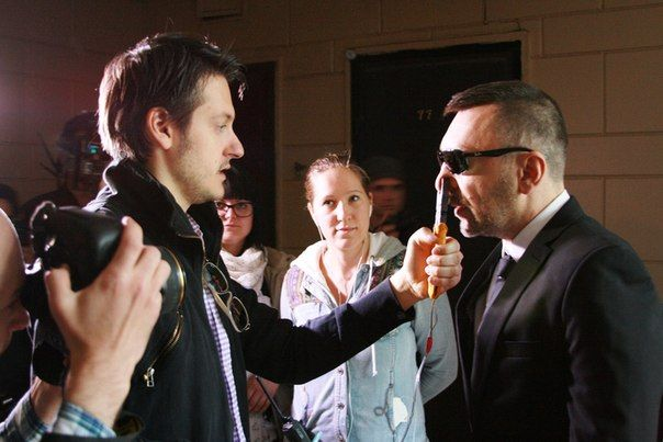 Ilya Naishuller and Sergei Shnurov on set of Hardcore Henry