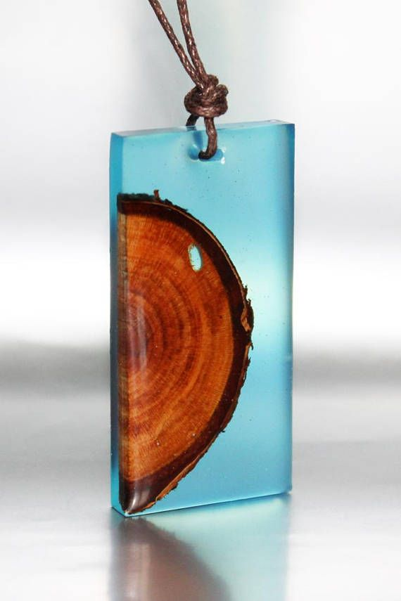 Wood resin necklace pendant Fuji Handmade wooden designer jewelry Gift for her with wooden box