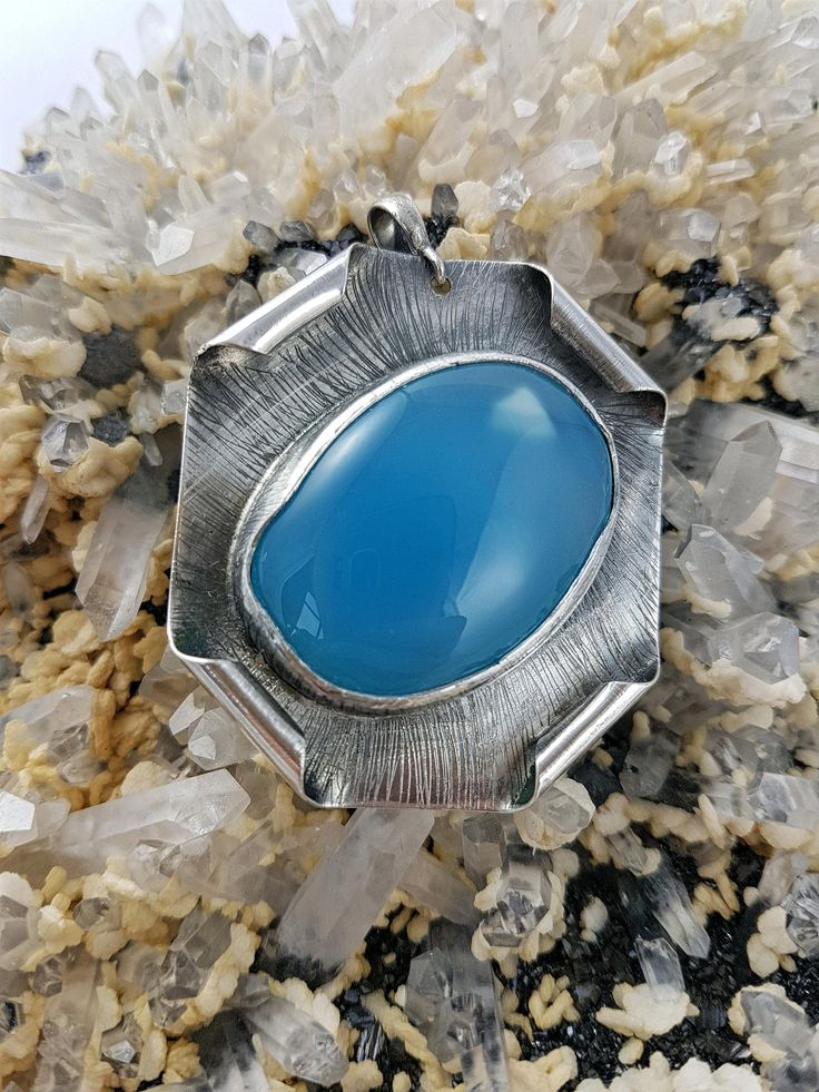 Excited to share the latest addition to my #etsy shop: Beautiful pendant with chalcedony dyed nice pendant with stone full #handmade beautiful chalcedony dyed unique color http://etsy.me/2jLAbXS #jewelry #necklace #blue #silver #girls #square #christmas #minimalist #chalcedonydye