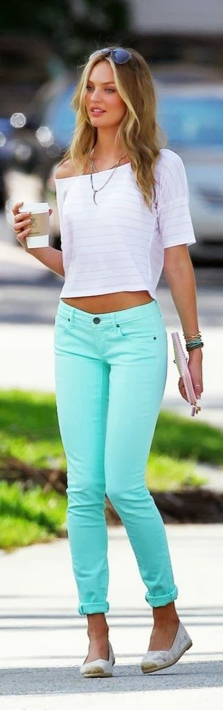 Half Sleeves T-Shirt With Mind Colored Pants and Ray Bans Click for more