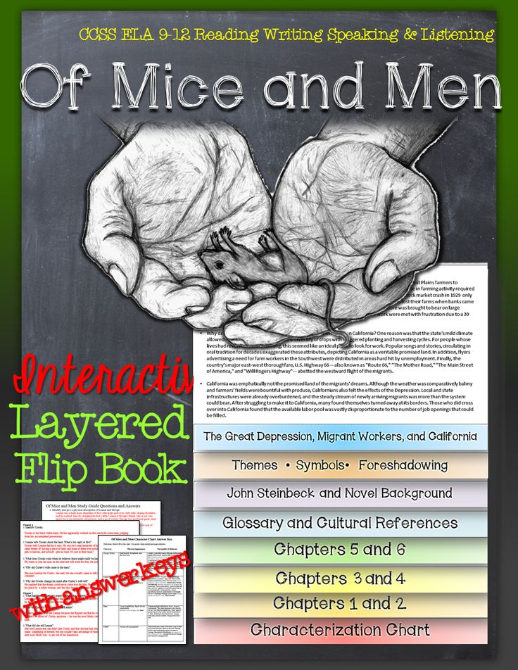 novel of mice and men was Three powerful novels of the late 1930s focused on the california laboring class: in dubious battle (1936), of mice and men (1937), and the book considered by many his finest, the grapes of wrath (1939) the grapes of wrath won both the national book award and the pulitzer prize in 1939.