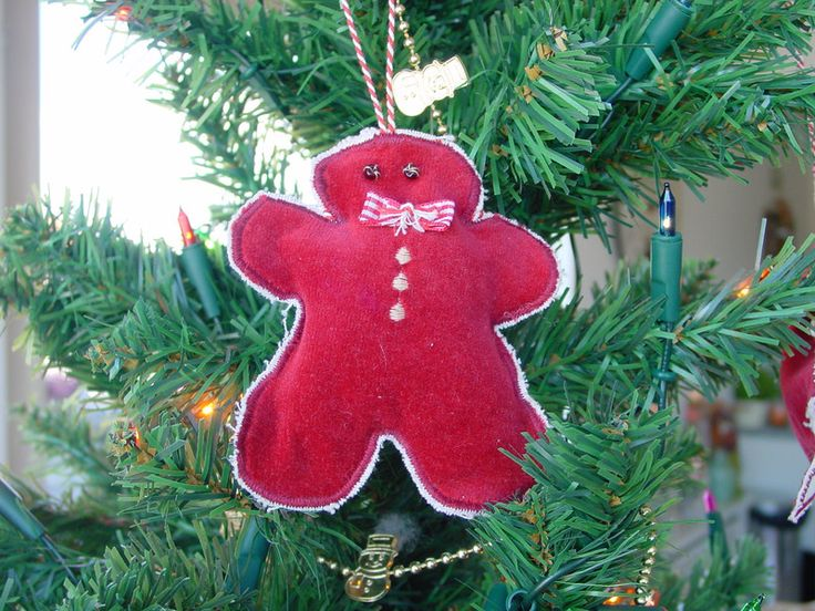 Boomdecoratie: stof - Kersthanger peperkoek mannetje - Een uniek product van Chimzoe op DaWanda