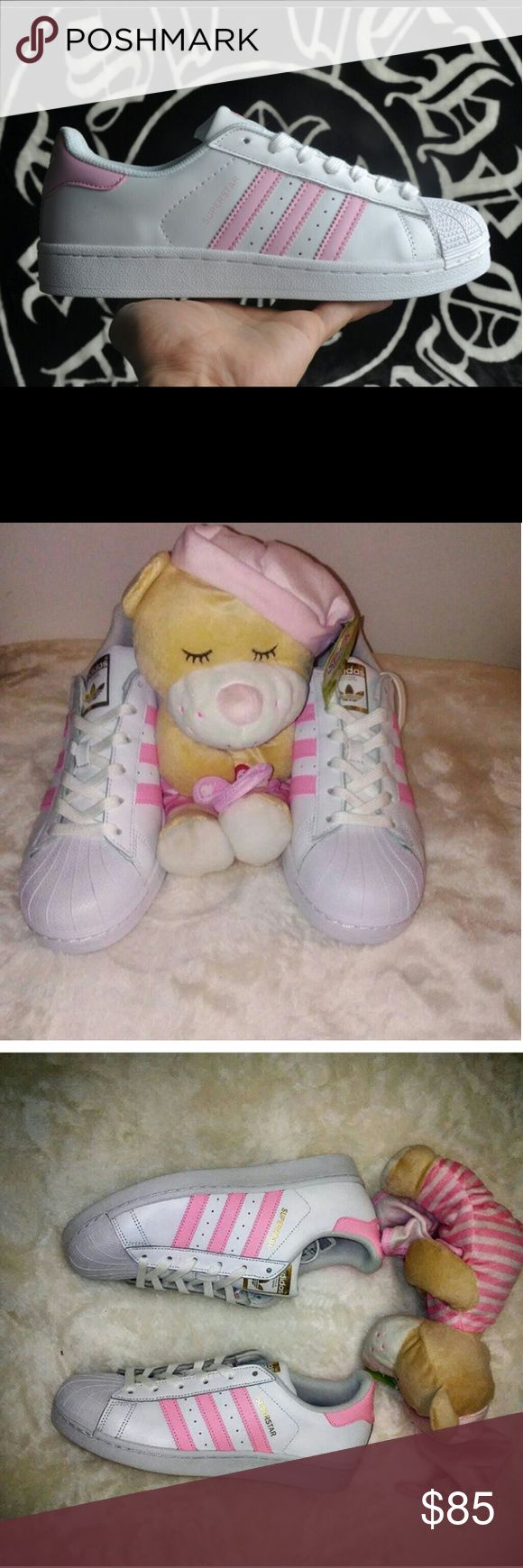Women's Adidas Originals Superstars Prayer bear is waiting on you to keep you comfort while you boast your new Adidas. This classic sihoutte with pink stripes supports the breast cancer survivors and the march of dimes foundation. The soft pink and white color way captures the essence of the shell toe line. Smooth, elegant with a hint Of  intelligence. You can walk and sleep safe as prayer bear and the pink Adidas are waiting for you.   New in box Mint condition   Free talking prayer bear if…