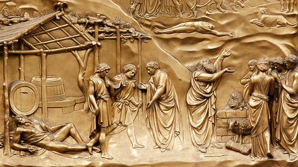 View the beautiful, detailed work of Lorenzo Ghiberti's 'Noah and the Flood' on the doors of the Duomo Baptistry.