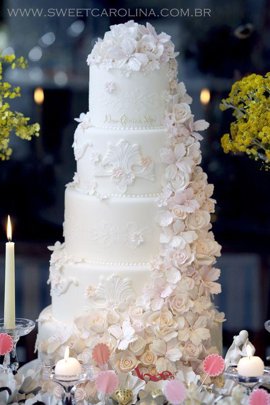 Wedding cakes, 5 andares, bolo de casamento, cascata de rosas, romantico
