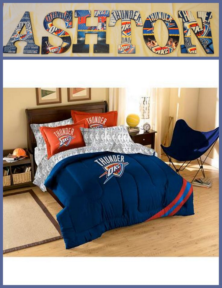 "Oklahoma City Thunder Inspired Wooden Letters Personalize your child's room or any room 9"" Wooden Letters with Drilled holes in the back for easy hanging. Can do any theme, college, team or bedding for boy or girl.  . I can even do your photo's for memories or a family one with your family photo's.. Can match any bedding theme. $9.50 per letter Email me at annhenderson@bellsouth.net"