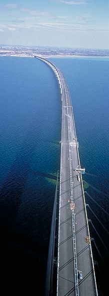 Øresund mink Denmark and Sweden. The longest cable-stayed bridge for road and heavy rail in Europe