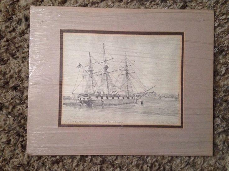 """Original John Moll Signed """"Frigate Constellation 1st Ship US Navy"""" Pencil"""