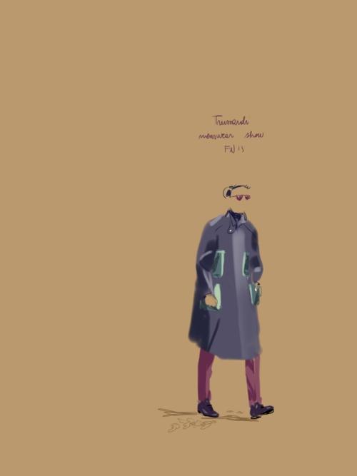 Trussardi menswear show, FW13.   #fashion #illustration Open Toe.   http://opentoe.posterous.com/tasche-trussardi-menswear