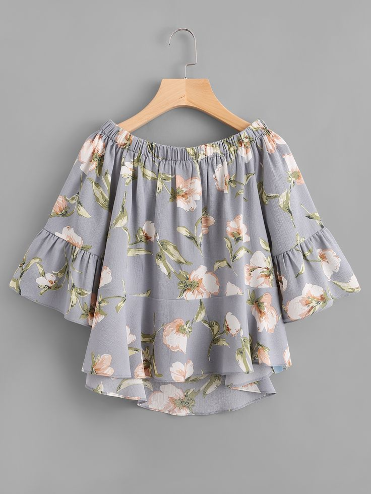 Shop Boat Neck Floral Print Trumpet Sleeve Dip Hem Top online. SheIn offers Boat Neck Floral Print Trumpet Sleeve Dip Hem Top & more to fit your fashionable needs.